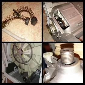 En tvättmaskin under reparation