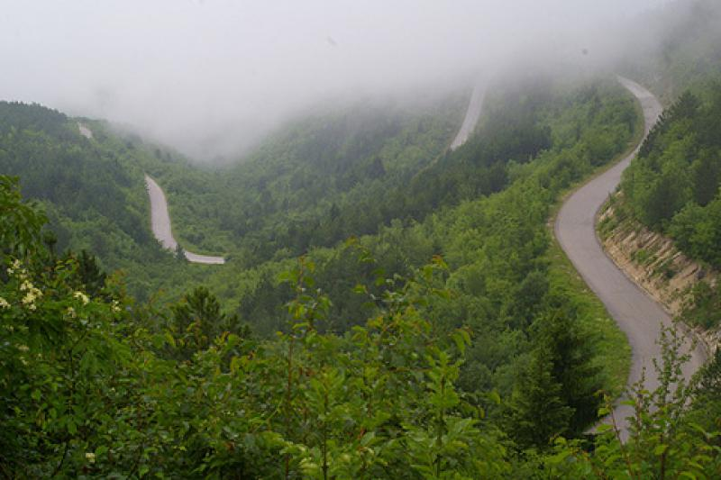 Uppförsbacke i bergen